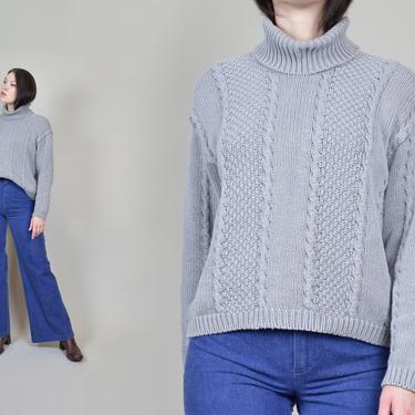 90's Cable Knit Turtle Neck Sweater | Vintage Cotton Cable Knit Sweater by WisdomVintage