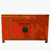 13200 Antique Chinese Orange/Black Lacquer Sideboard, circa 1860
