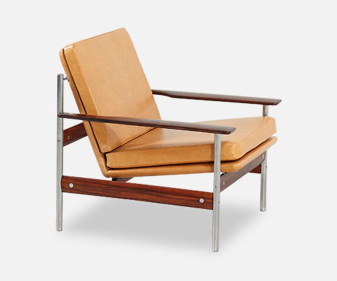 Sven Ivar Dysthe Rosewood & Leather Lounge Chair for Dokka Möbler
