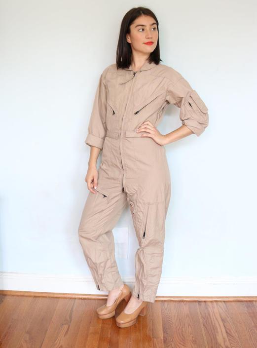 fea39facef12 Vintage Khaki Flight Suit  Army Coveralls  Air Force Jumpsuit  Small ...