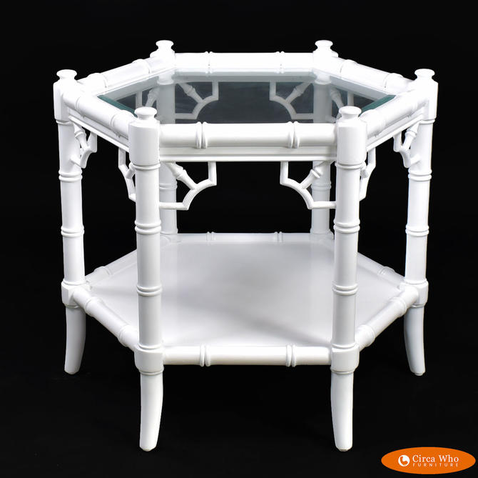 Faux Bamboo White Hexagonal Side Table