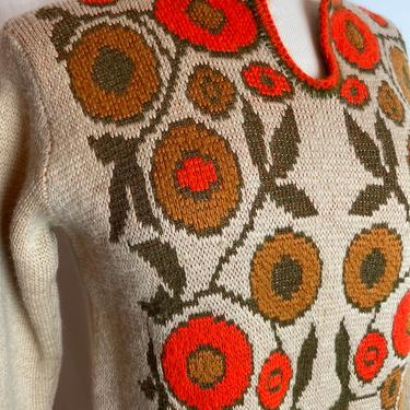 60's bright print wooly sweater ~ groovy 1960s snug knit top~ tangerine day dream~ earth tones boho hippie vibes~ abstract flowers~ SM by HattiesVintagePDX