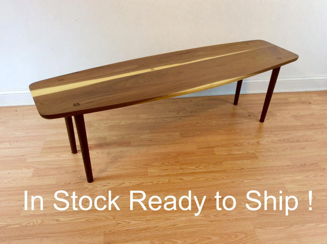 Black Walnut Mid Century Modern Coffee Table | Danish  Design with Tapered Legs | Eames Era Atomic Era by donyacovella