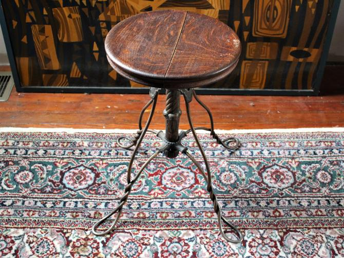 Antique wrought twisted iron leg piano stool with oak seat by GideonWoodworker