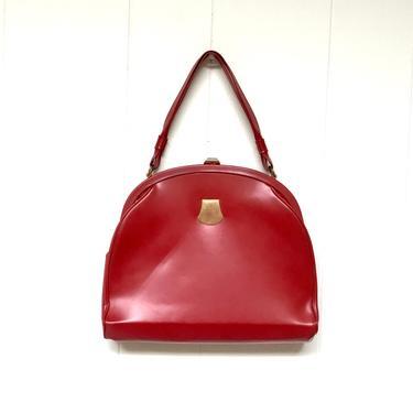 Vintage 1950s Red Leather Dofanette Handbag, Crimson Mid-Century Top Handle Purse, Scarlet Mrs. Maisel Dofa Bag, Made in France by RanchQueenVintage