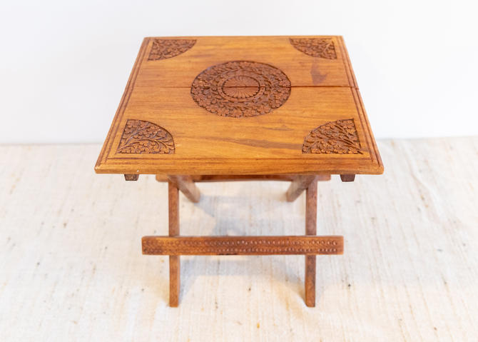 Gorgeous Vintage Hand Carved Teak Accent Table / Plant Stand -  Made in India by PortlandRevibe