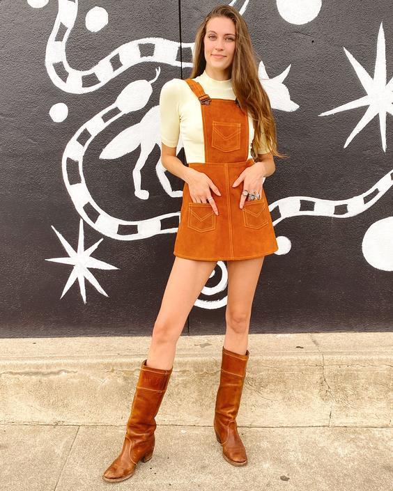 60's Orange Suede Overall Dress
