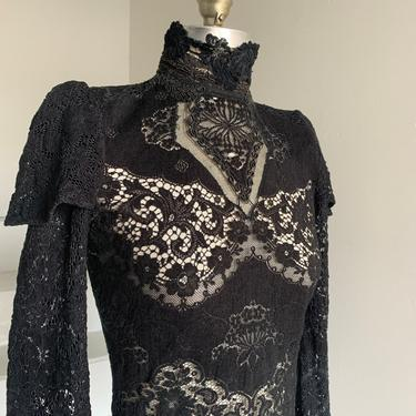 Vintage 1980s High Neck Victorian Style Gothic Witchy German Cotton Top Black Lace 34 Bust Vintage by AmalgamatedShop