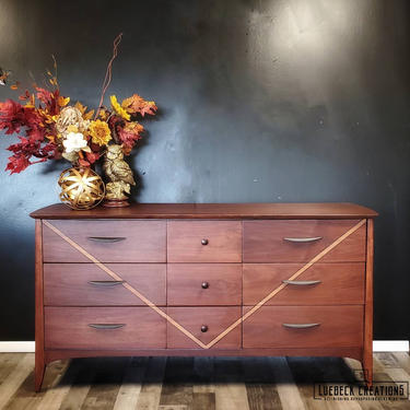 Dixie mcm dresser. Nine Drawer Storage. Mid Century Modern Bedroom. Vintage Mid Century Modern low boy media console. Credenza. by LuebeckCreations