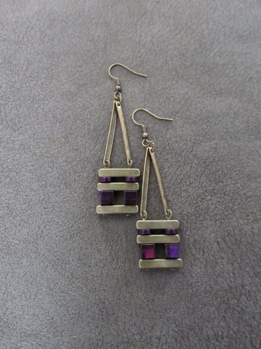 Minimalist earrings, brutalist earrings, mid century modern earrings, bold statement earrings, purple hematite, unique chic brass earrings, by Afrocasian