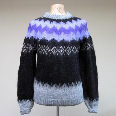 """Vintage Nordic Pullover Sweater, Black Gray Purple Hand-Knit Alpaca Wool Icelandic Ski Sweater, Unisex 42"""" Chest/Bust by RanchQueenVintage"""