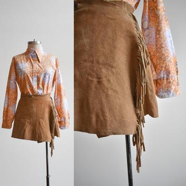 60s Tan Suede Fringe Mini Skirt by milkandice