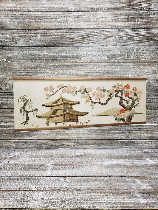 Vintage Gravel Art, Buddhist Pagoda Gravel Art, Mid Century Modern Pebble Gravel Mosaic, Asian Landscape, Framed Art, Vintage Home Decor by AGoGoVintage