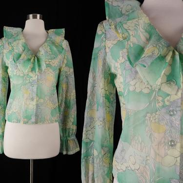 Vintage Seventies Sheer Forest Print Ruffle Disco Blouse - Small Green Print 70s Long Sleeve Button Front Top by JanetandJaneVintage