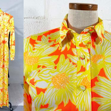 True Vintage Lilly Pulitzer Long Sleeve Shift Maxi Dress 60s Mod Yellow Orange 1960s Floral Flowers Twiggy Sleeves Mockneck MCM Large Medium by CheckEngineVintage