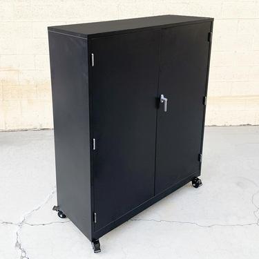 Vintage Steel Modular Cabinet, Refinished in Hammered Black