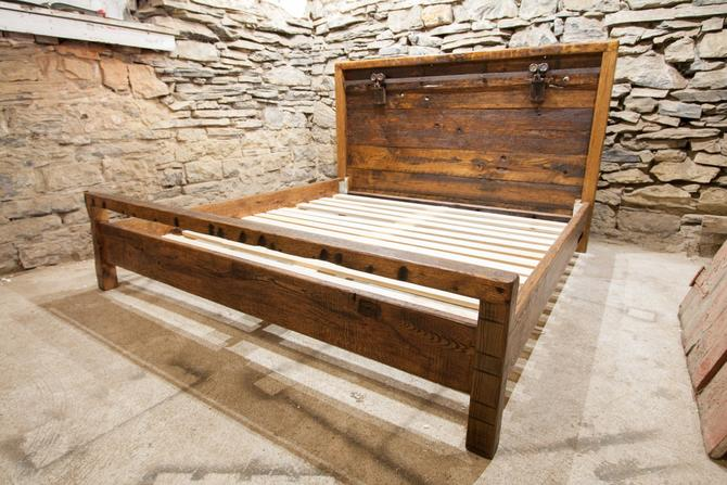 Forgotten Summer Bed Frame from Reclaimed Oak and Vintage Barn Door Hardware by BarnWoodFurniture