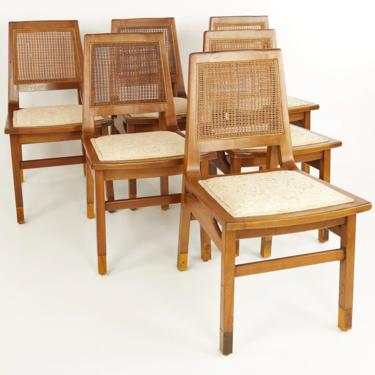 Founders Mid Century Walnut and Cane Dining Chairs - Set of 6 - mcm by ModernHill
