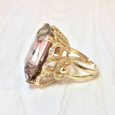 14 Karat Yellow Gold Smoky Quartz Ring   Emerald Cut Smoky Quartz   Statement Jewelry   Cocktail Ring   Yellow Gold   14K   Size 7 US   Gift by shopGoodsVintage