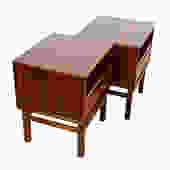 Pair of Danish Modern Rosewood Torring Nightstands \/ Side Tables