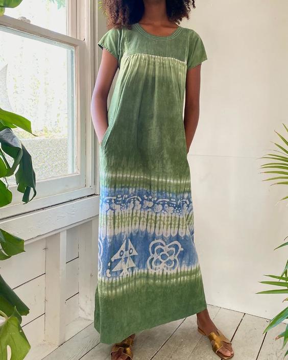 70s Batik Cotton Maxi Dress