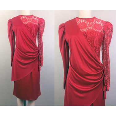 Vintage 80s Asymmetrical Red Draped Dress w/ Lace Top Party Cocktail S by FlashbackATX