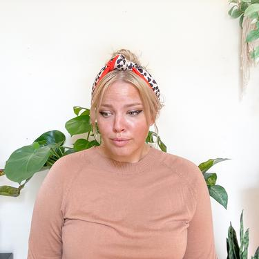 Orange /  Leopard Top Knot Headband  - / Red / Two tone - Cream / Animal Print / Cheetah   / Trend Hair  Woman by IrisAtelierCouture