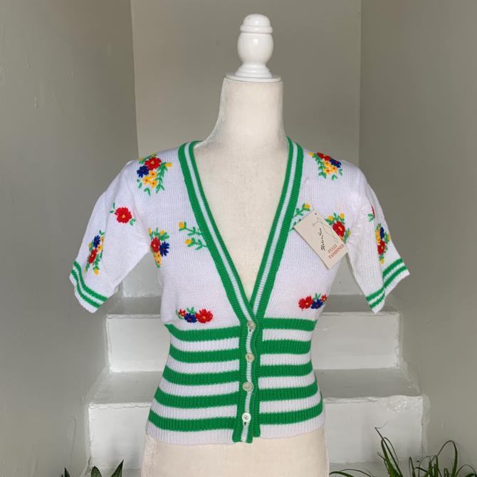 1970s Unworn Cropped Sweater Floral Embroidery & Stripes 36 Bust Vintage by AmalgamatedShop