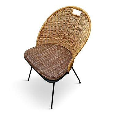 Salterini Wicker and Iron Chairs By Maurizio Tempestini Set of Four Mid Century