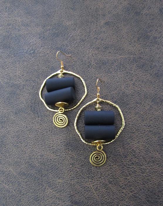 Bold earrings, black and gold geometric earrings, mid century modern earrings, unique Art Deco earrings, chunky statement earrings hoop by Afrocasian