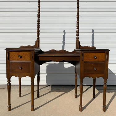 Antique Wood Vanity Desk Shabby Chic Victorian Makeup Table Storage Country French Farmhouse Victorian Bedroom Set Bohemian Boho Chic by DejaVuDecors