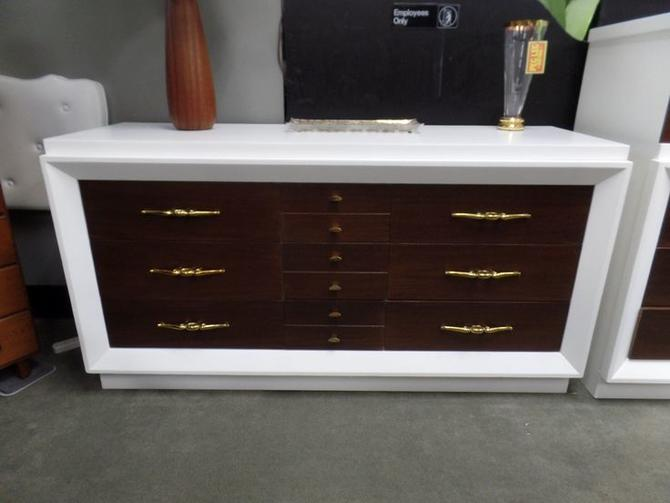 Mid-Century Modern white and walnut long dresser