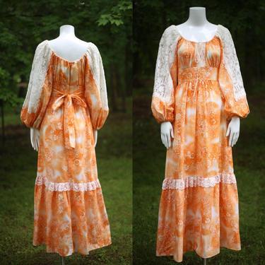 70s orange crush print prairie maxi dress 7 / vintage 1970s fairytale peasant dress gown M by ritualvintage