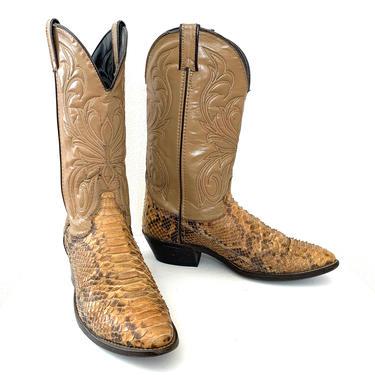 Vintage LAREDO Snakeskin Cowboy Boots ~ 11 D ~ Western ~ Rockabilly ~ Biker ~ by SparrowsAndWolves