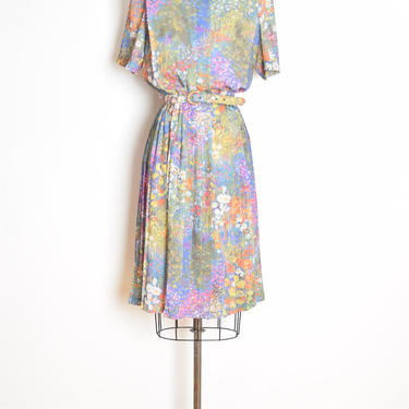 vintage 80s dress colorful floral watercolor print secretary midi dress L XL clothing by huncamuncavintage