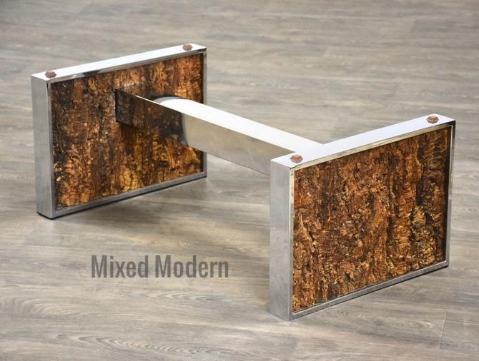 Chrome and Cork Coffee Table Base by mixedmodern1