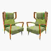 Orlando Orlandi Attributed Pair of High Back Lounge Chairs 1950s