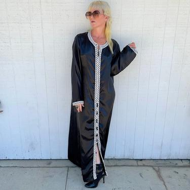 Vintage Black Kaftan Embroidered Long Sleeve Dress Gothic Clothing Witchy Vibes by LoveItShop