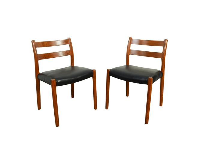 J.L. Moller 2 Teak Dining Chairs Model 84 Black Leather Denmark by HearthsideHome