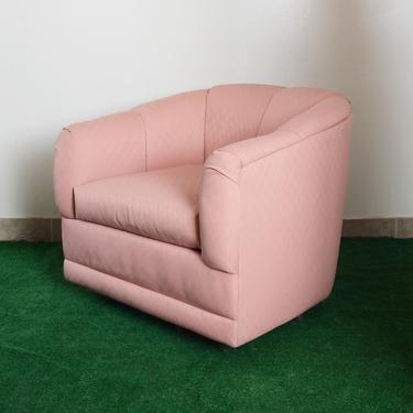 vintage 80s pink zigzag pattern fabric swivel  armchair by fingerlickingvintage