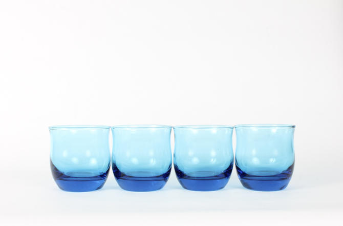 Blue Glassware, Vintage Glassware, Blue Glasses, Vintage, Mid Century Glassware, Whiskey, Lowball,Cocktail Glassware,Colorful Glass,Set of 4 by 1882BlueVintage