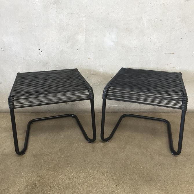 Pair of Ames Aire Style Strap Ottomans