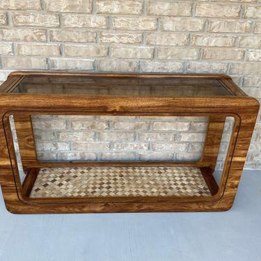 Vintage 1970s-80s Console / Hall / Sofa Table with Inset Glass Top and Lower Shelf with Woven Accent and Glass Topper by PrimaForme