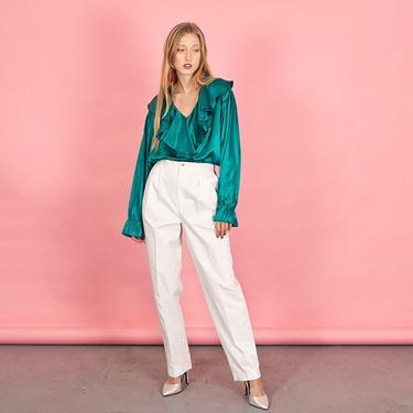80s Bright White Classic Trousers Vintage Straight Leg Minimal Pants by AppleBranchesVintage