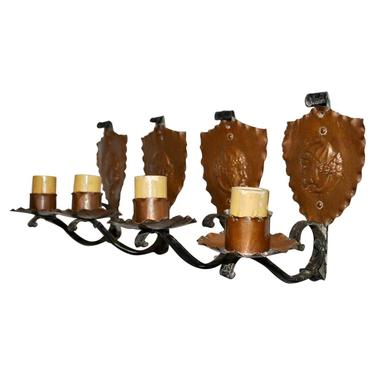 Rare Set of Four French 1920's Wrought Iron and Copper Sconces