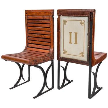 RARE Paris Metro Seats Chairs Circa 1920's by coloniaantiques
