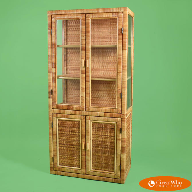 Wrapped & Woven Rattan Cabinet with Glass