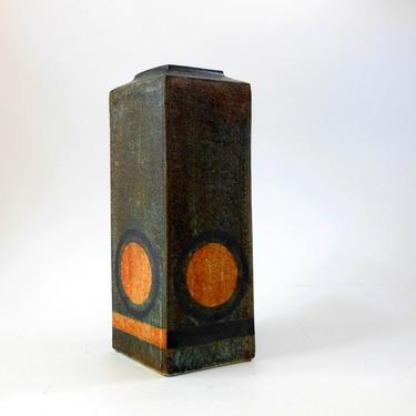 Early TROIKA St Ives VASE 13x5 Square Column Texture Signed HC Dark Green Orange Black Rondels Lines Mitered Raised Top Pottery England ExC by FultonLane