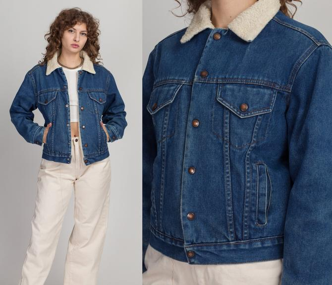 70s 80s Michael Charles For Cooper Sherpa Denim Jacket - Extra Small | Vintage Unisex Jean Jacket Shearling Grunge Trucker Coat by FlyingAppleVintage