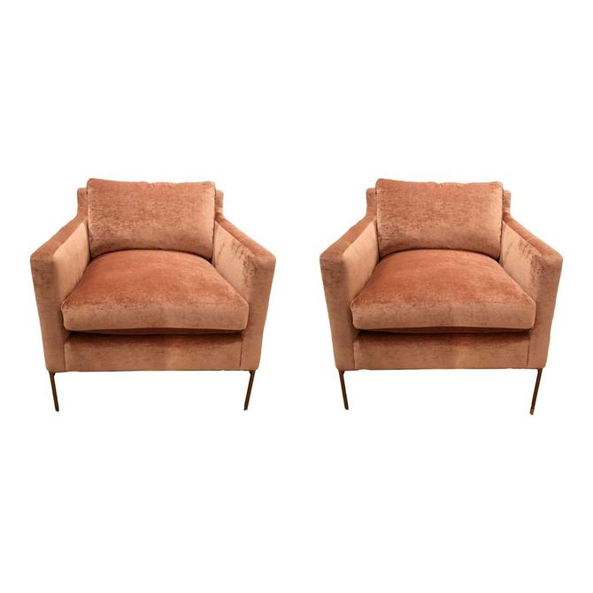 Caracole Modern Blush Velvet Sit a Spell Lounge Chairs Pair